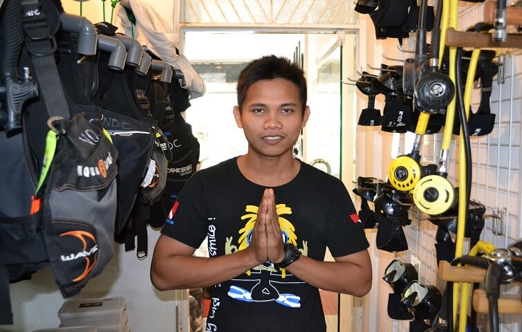 Husein, taking care of the diving equipment at Nico Dives Cool Bali