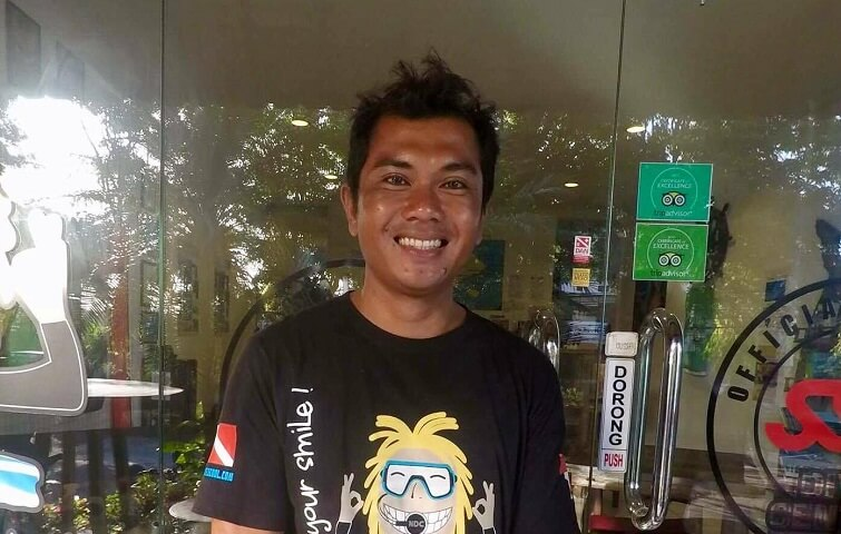 Nyoman, dive instructor guiding divers and snorkelers in all Bali dive spot