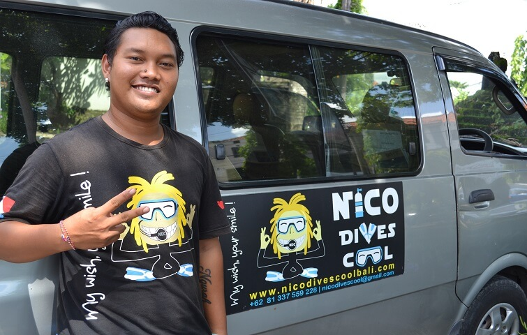 Putu, driver for Nico Dives Cool Bali dive center