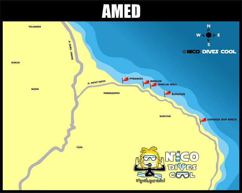 AMED diving and snorkeling spots map