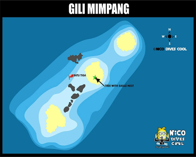 GILI MIMPANG BALI DIVING MAP
