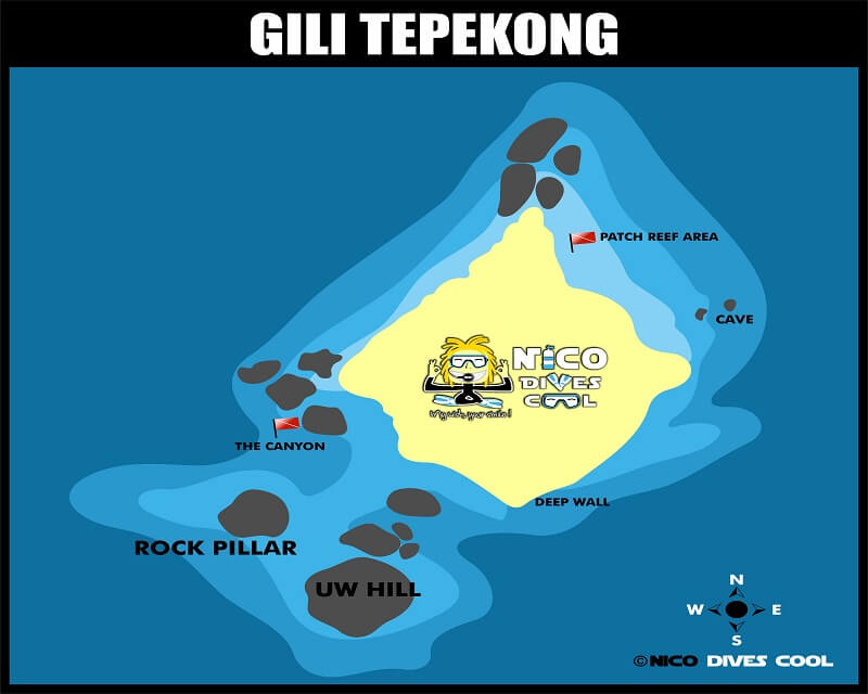 GILI TEPEKONG Bali diving map Candidasa Amuk Bay Dive Sites Sharks Current
