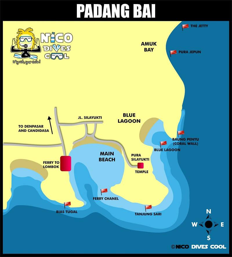 PADANG BAI Diving Map Bali Dive Sites