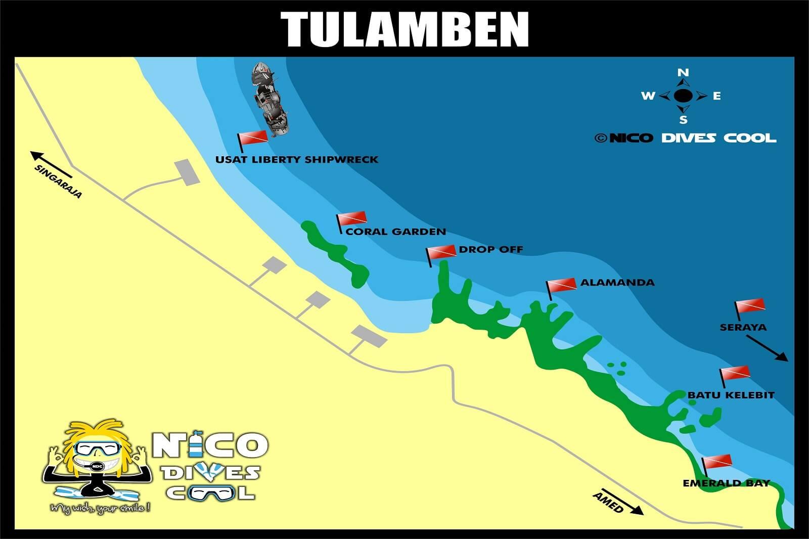 Tulamben Bali Diving Map dive sites USAT liberty wreck