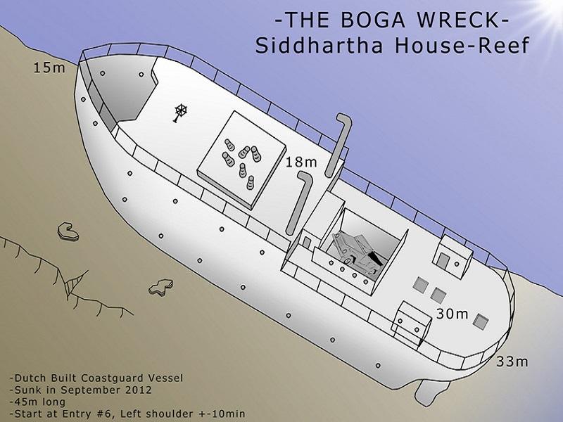 Map of Boga Wreck in Kubu