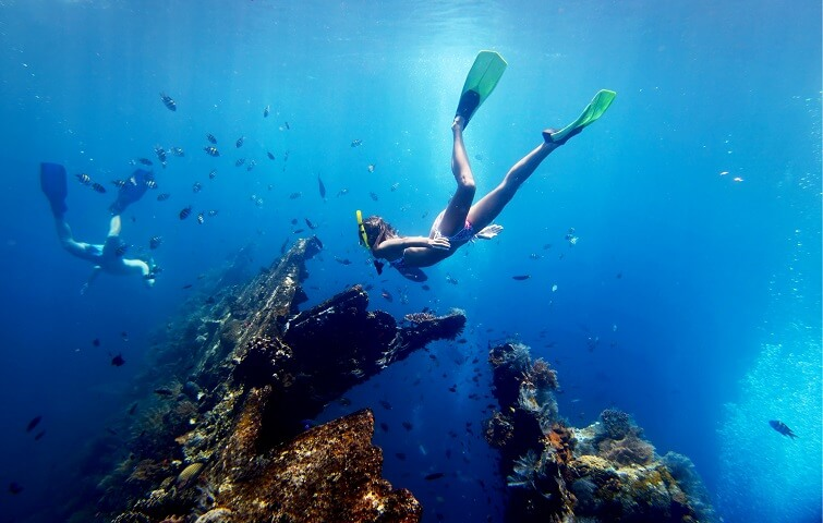 Snorkeling Tulamben dive spots in Bali